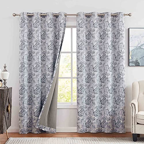 Muse Dream Paisley Full Blackout Window Curtains 84 inch Long for Bedroom Navy Blue,Vintage Design Floral European Style Living Room Window Panels Thermal Insulated Soundproof Drapes 52'W x 84'L 2PC