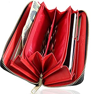 Kstarplus 財布 レディース 長財布 ブランド人気 カード21枚収納 取り出しやすい小銭入れ 大容量収納可能 おしゃれ キーチェーン付 (黒)