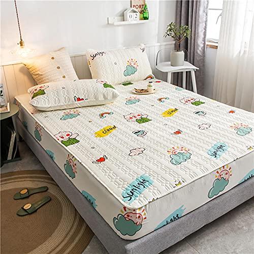YFGY Spannbettlaken Matratzenschutz 3 STÜCKE, wasserdichte Bettwäsche mit Kissenbezügen, All-Inclusive-Matratzengarnituren für Schlafzimmer Schlafzimmer Homestays White 5 King 150 * 200cm
