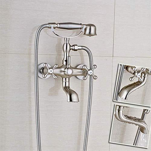 Sistema de ducha Montaje en pared Bañera Grifo de baño Níquel cepillado Estilo de teléfono Grifo mezclador Grifo con ducha de mano de doble manija