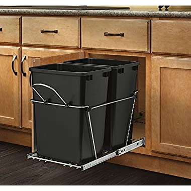 Rev-A-Shelf RV-18KD-18C S - Double 35 Qt. Pull-Out Black and Chrome Waste Container