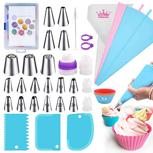 Piping Bags and Tips set,55 pcs Cake Decorating kits with 19 Stainless Steel Icing Tips including 3 Russian Piping Tips,2 Reusable Pastry Bags,4 Couplers&3 Icing Smoother for Decorating Cake
