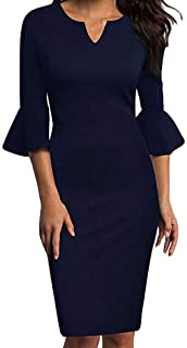 MODOQO Women's Bell Sleeve V-Neck Work Casual Dress Three Quarter Sleeve Solid Pencil Dress