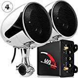 XINGFUQY Sistema de Audio Aileap M600N Motocicleta con 600W Subwoofer Amplificador y Dos Altavoces estéreo, Soporte for Bluetooth, Radio FM, AUX MP3 (Color : Chrome Set)