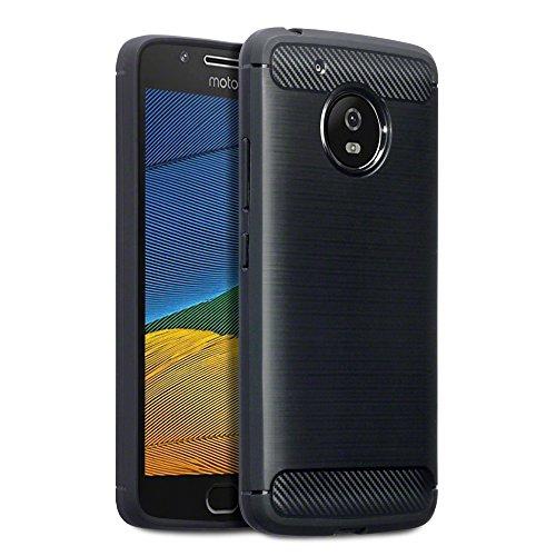TERRAPIN, Kompatibel mit Moto G5 Case, Terrapin TPU Schutzhülle Tasche Case Cover für Motorola Moto G5 Hülle Karbonfaser & Ausgebürstet Dessin Schwarz EINWEG