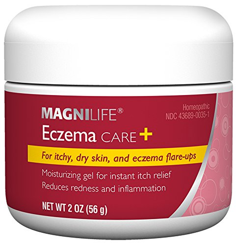 MagniLife Eczema Care+, Lasting Relief For Itchy, Dry Skin, Dermatitis and Eczema Flare-Ups - Moisturizing Gel - Natural Ingredients Aloe, Calendula & Tea Tree Oil - Steroid-Free, Paraben-Free - 2oz