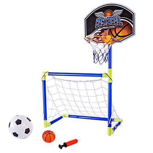MRKE 2 en 1 Portátil Plegable Canasta Baloncesto Infantil + Porterias de Futbol para Niños con Inflador, Baloncesto, Fútbol, 90CM