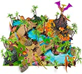 Prehistoric Playset, 100 Pieces - Jurassic Dinosaurs and Cave Men - Mini Dino Figure Bundle Kit with Play Mat, Storage Container, Volcano, Bridges, Plants & Educational Booklet - Toys & Games for Kids