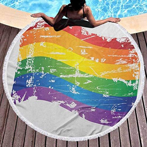 Toalla de yoga redonda para mujer Toalla de playa con arcoíris vintage para mujer, estilo grunge,...