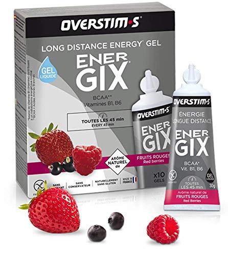 OVERSTIM.s - Energix (10 Geles) - Frutas Rojas - Gel Energético De Resistencia Para Distancias Largas - Bcaa - Textura Líquida - Sabores Naturales - Sin Conservantes 300 g
