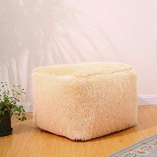 MIAO Inflatable Stool Sofa Home Decoration Portable Chair Long Plush Square Air Filled Comfort Seat Wear Shoes Stool Footrest + Free Inflatable Pump (50cm x 50cm x 35cm, Beige)
