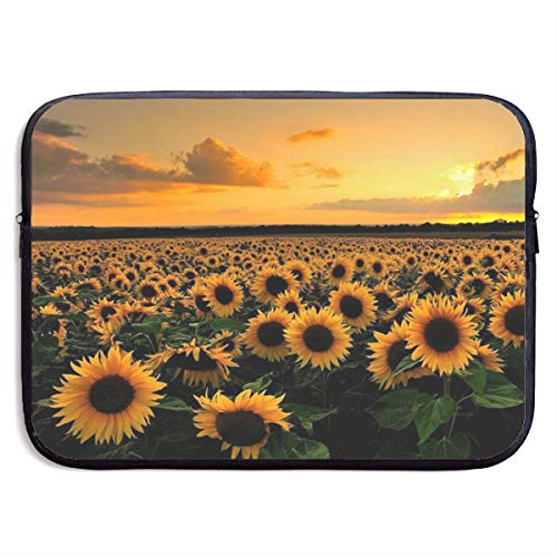 A Sunflower Field 13-15 Inch Laptop Sleeve Bag Portable Dual Zipper Case Cover Pouch Holder Pocket Tablet Bag,Water Resistant,Black
