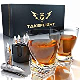 Whiskey Glasses and Whiskey Bullets - Premium Whiskey Glass Set, 2 Twist Style Glasses for Scotch or Bourbon in Gift Box | Stainless Steel Whisky Stones Shaped Like Bullets | Bar Set for Man Cave