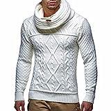 Suéteres para Hombre Otoño e Invierno Moda Casual Cuello de Pila Cuello Alto Twist Knit Suéter...