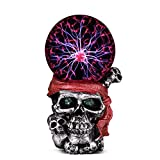 ANQIA Plasma Ball Lamp Touch Sensitive,Party Magical Electrostatic Red Color Crystal Ball for Christmas (Skull)