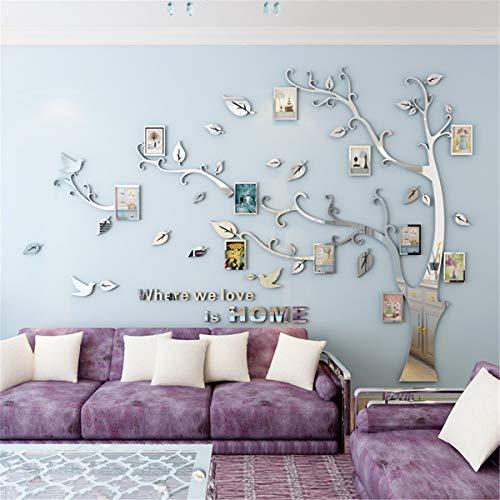 DIY 3D Kristall Acryl Malerei Wanddekoration Große Fotorahmen Baum Wandtattoos Baum Wandaufkleber Room Decor Wandbild Wandkunst (XL, Silber, Right)