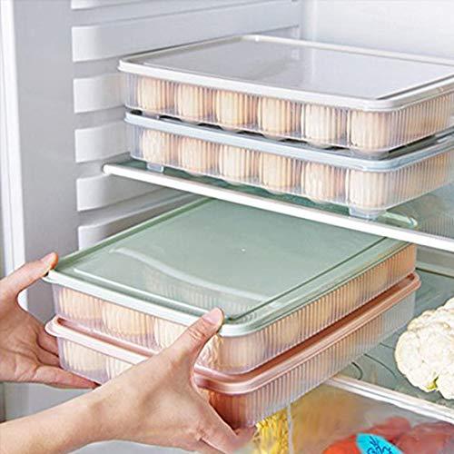 Pppby - Caja de almacenamiento apilable para huevos (24 grillas), color verde