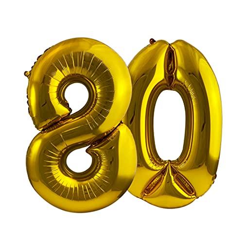 LASE C9, Globos de Cumpleaños de Números, Metalizados. Incluye Inflador y pegatinas adhesivas. Decoración para Fiestas de Niños y Adultos. Happy Birthday 80cm. (80)
