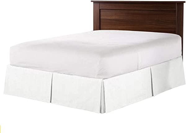 Hotel Luxury Collection 1800 Series 20 Inch Drop Length Queen White Bed Skirt With Box Pleats And Split Corners Brushed Microfiber Wrinkle Fade Resistant By Universal Bedding
