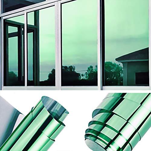 TTMOW Sichtschutzfolie Fenster, Spiegelfolie Selbstklebend, One Way Spiegel Reflektierende Fensterfolie, 99% UV-Schutz, 85% Sonnenschutz Wärmeisolierung, für Zuhause und Büro (Grün, 40 x 200cm)