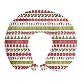 ABAKUHAUS Navidad Cojín de Viaje para Soporte de Cuello, Fiesta de diciembre, Cómoda y Práctica Funda Removible Lavable, 30x30 cm, Helecho Verde Oscuro Coral