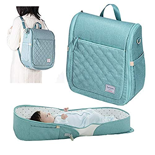 RONGJJ Portable Diaper Bag, 2 In 1 Portable Baby Crib Travel Mommy Newborn Nappyfolding Crib Bag Backpack Waterproof Stylish For Baby Care
