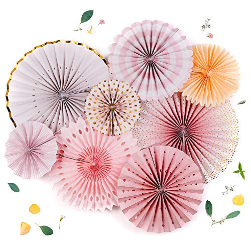 PapaKit Origami Wall Decoration Set (8 Assorted Round Paper Fans) Birthday Party Baby Shower Wedding Events Decor | Creative Art Design Pattern (Sparkling Pink Rose Blush, 8 Piece Set)
