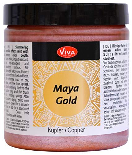 Viva Decor®️ Maya Gold (Kupfer, 250 ml) Acrylfarbe mit Metallic Effekt - Malfarbe - Acryl Farben für Holz, Pappe, Beton, Papier, Leinwand UVM.