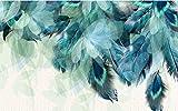 Papier Peint Photo Plume De Paon 3D Peinture Murale Intissé Moderne - Poster Geant Pour Chambre Salon Cuisine Salle De Bain Décoration 300CMx210CM