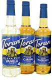 Torani Coffee Sugar Free Syrup Variety Pack, 25.4 Ounce (Pack of 3) one each of Sugar free: Vanilla, Caramel and Hazelnut