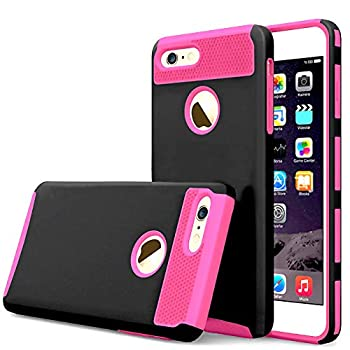 Compatible with iPhone 6/6S Plus Case Heavy Duty Slim Shockproof Drop Protection 2 in 1 Hybrid Hard PC Covers Soft Rubber Bumper Protective Heavy Duty Anti Slip Case for iPhone 6 Plus 5.5 inch black
