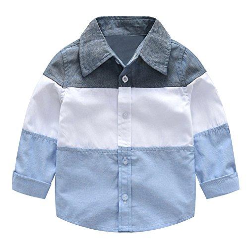 Sunenjoy Chemises Bébé Garçon T-Shirt Rayure Haut Top Manches Mignon Mode Gentleman Tenue Décontractée Vêtements Printemps Automne Hiver