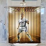 DRAGON VINES COOL Toni Kroos Fußball Star NO.8 Duschvorhang, 183 x 183 cm, wasserdichter Badezimmer-Vorhang mit 12 Kunststoffhaken, waschbarer Badvorhang