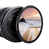 JJC 55mm Variable Neutral Density Filter ND2 to ND400, Slim Fader ND Filter for Sony A6600 A6500 A6400 A6000 with E 18-135mm f/3.5-5.6, Sigma 56mm f/1.4 DC DN Lens& More with 55mm Thread