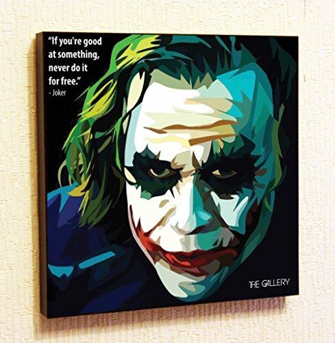 Joker (Heath Ledger) Marvel DC comics Super Hero Motivational Quotes Wall Decals Pop Art Gifts Portrait Framed Famous Paintings on Acrylic Canvas Poster Prints Artwork (10x10' (25.4cm x 25.4cm))