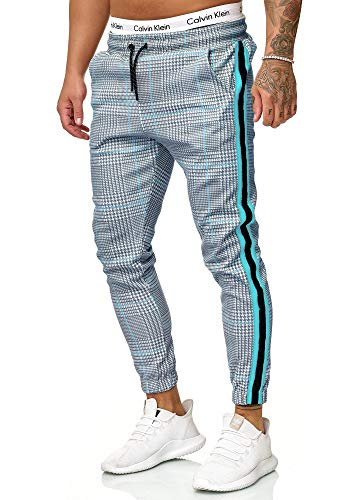 OneRedox Herren | Jogginghose | Trainingshose | Sport Fitness | Gym | Training | Slim Fit | Sweatpants Streifen | Jogging-Hose | Stripe Pants | Modell 1226 Grau Türkis L