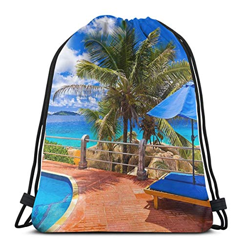 LTtie Gym Drawstring Bags, Tropical Sea Uumbrella Swimming Pool Tote Backpack Sackpack For Students Gym Sack Bag For Gym Swimming Water Bottle Storage Bag