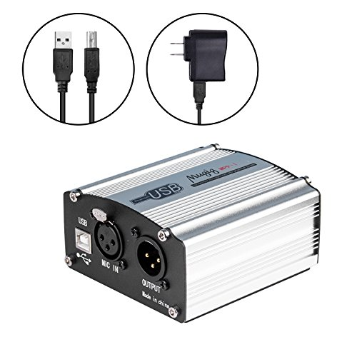 Phantom Power Supply, Mugig 48V Micropower for Condenser Microphone, 1-Channel with Power Adapter, Universal Spec, USB Charging Port - Silver