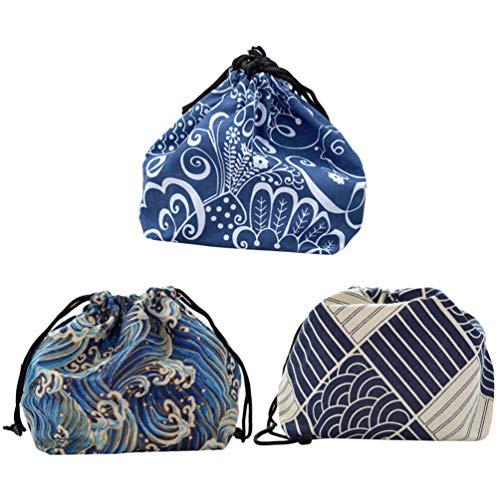UPKOCH 3 stücke mittagessen einkaufstasche japanischen kordelzug bento beutel tragbare bento aufbewahrungstasche mittagessen handliche taschen für outdoor büro schule