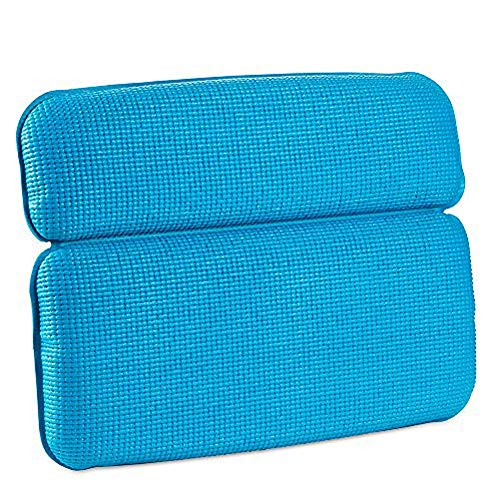 Waterproof Bath Pillow with Suction Cups Spa Bathroom Bathtub Pillow Supports Best Bath Accessories for Head and Neck,Blue
