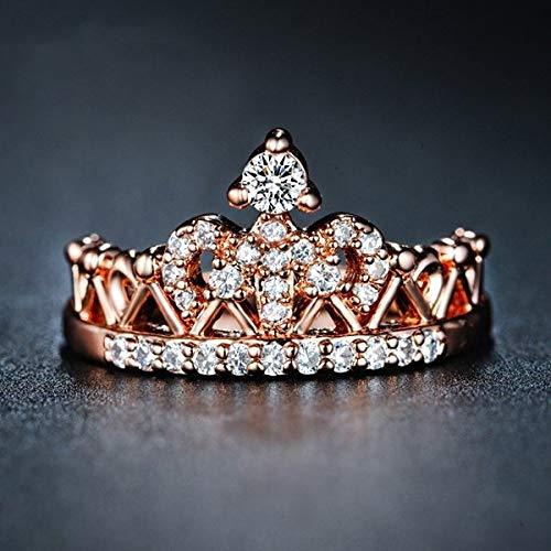 DGSDFGAH Ring Womens,Rose Gold Rhinestone Small Heart-Shaped Crown Pattern Ladies Ring Anniversary Girl Gift Elegant Female Prom Fashion Jewelry Ring, 11