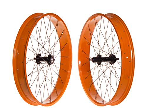 FK Cycling Ruedas fatbike, 26', pajera, 8-10V, Aluminio, bujes Sellado 170/135. (Naranja)