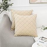 MingBo Juego de 2 fundas de almohada de 50 x 50 cm, plisadas,...