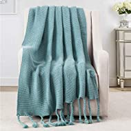 """Revdomfly Blue Throw Blanket Knitted Throw Blanket with Fringe Tassels Warm Cozy Woven Blankets for Couch Bed Chair, 51.2"""" x 67"""""""