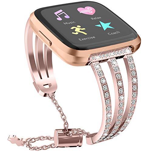 YWZQ Sport-Armband, Riemen Kompatibel mit Fitbit Versa 2 / Fitbit Versa Lite, 3 Reihen-Edelstahl mit Strass Einstellbare Kettenbänder für Versa 2 / Versa Lite,Rosa