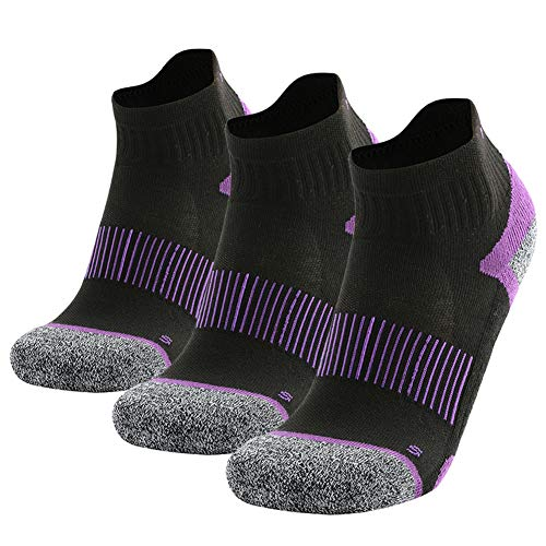 MK MEIKAN Hiking Socks Ankle, Womens Girls Lightweight High Performance Camping Socks Funny Arch Compression Support Durable Warm Running Socks Cycling Socks 3 Pairs (Black&Purple, Small)