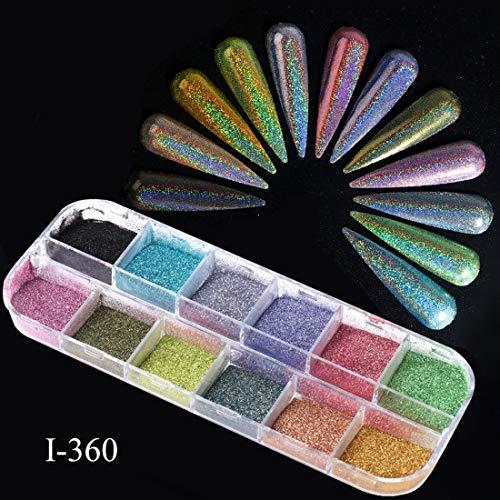 KYT-ma 12 Grids Laser Ongles Glitter Holographic Poudre Paillettes Charms Flake Paillette Sparkly Pigment poussière Nail Art Décorations TR1562 (Couleur : 12 Grid I 360)