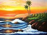 5D DIY pintura de diamantes junto al mar bordado de diamantes puesta de sol paisaje Kit de artesanía decoración del hogar pintura de diamantes A5 50x70cm