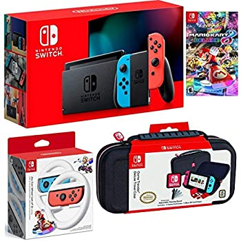 Nintendo Switch Bundle  32GB Console Red and Blue Joy-Con Nintendo Switch Wheel  set of 2  Deluxe Travel Case and Mario Kart 8 Deluxe Edition Video Game
