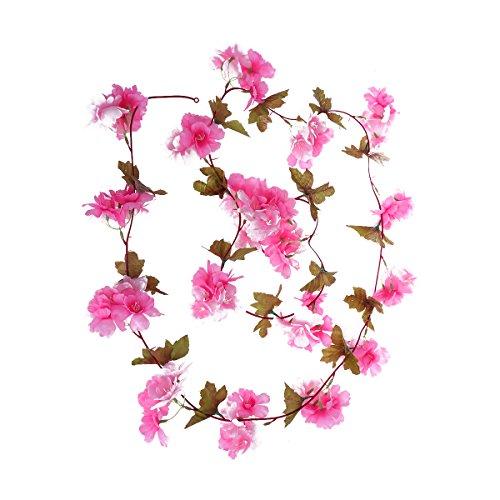 LUOEM - Guirnalda de flores artificiales con flores de cerezo y hojas verdes para bodas, fiestas, decoración 2,28 m (color rosa)